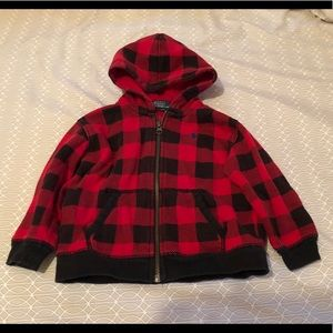Polo Red & Black checkered Sweat Hoodie